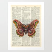 Vintage Butterfly On Dic… Art Print