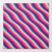 Abstract Color Burn Pattern - Geometric Lines / Optical Illusion in Rainbow Acid Colors Canvas Print
