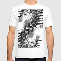 GRAY AND BLACK Mens Fitted Tee White SMALL
