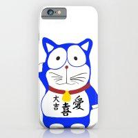 iPhone & iPod Case featuring Maneki Neko - Japanese Lucky Cat by WAMTEES