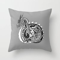 Nesting Dragon Throw Pillow