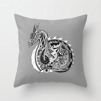 Nesting Dragon Throw Pillow