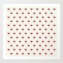 Cute Red Hearts Pattern Art Print