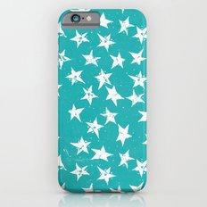 Linocut Stars - Verdigris & White iPhone 6s Slim Case
