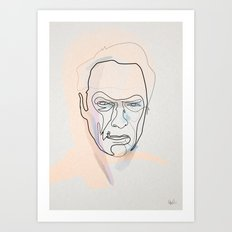 One line Clint Eastwood Art Print