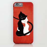 iPhone & iPod Case featuring White And Black Cats In Love (red) by Boriana Giormova