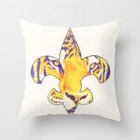 Fleur De Lis LSU Tiger Throw Pillow