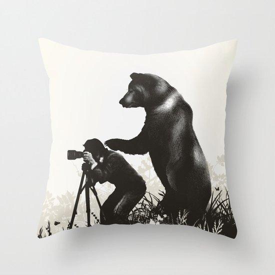 The Bear Encounter II Throw Pillow