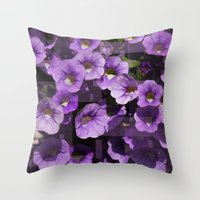 Purple Flower Kaleidoscope Throw Pillow