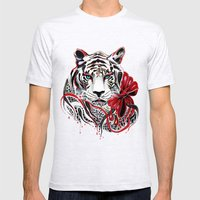 White Tiger Mens Fitted Tee Ash Grey SMALL