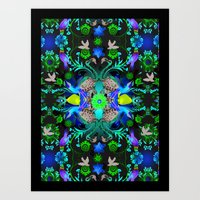 Kaleidoscope Flamingos Art Print