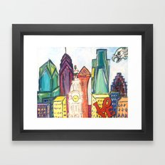 Philadelphia Skyline with Sports Teams: LOVE Statue, Phillie Phanatic, and Eagles Framed Art Print