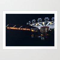 Carrousel Le Tour Eiffel Art Print