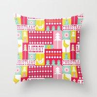 Festive Christmas Collag… Throw Pillow