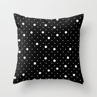 Pin Point Polka Dots Whi… Throw Pillow