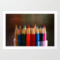 Rainbow Crayons Art Print