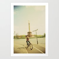 Woman On Bicycle In Berl… Art Print
