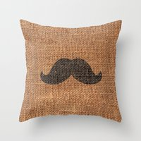 Black Funny Mustache On … Throw Pillow