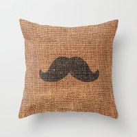 Black Funny Mustache on Brown Jute Burlap Texture Throw Pillow