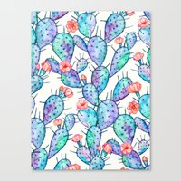 Rainbow Watercolor Cactus Pattern Canvas Print