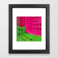 Framed Art Print featuring Crates In Pink And Green by Jeffrey J. Irwin