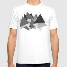 Triangle Grey Mens Fitted Tee SMALL White