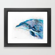 Framed Art Print featuring Dolphin  by Slaveika Aladjova