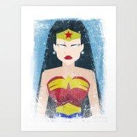 Wonder Grunge Woman Art Print