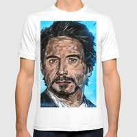 Robert Downey Jr Mens Fitted Tee White SMALL