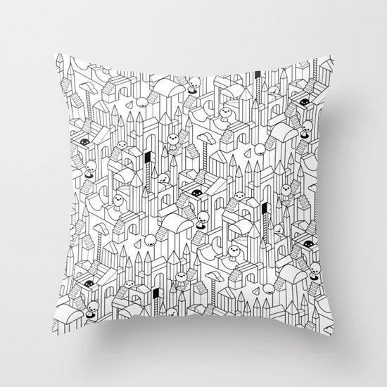 Little Escher's Building Blocks Throw Pillow