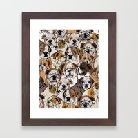 Social English Bulldog Framed Art Print