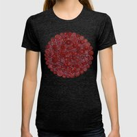 Red on Blue Womens Fitted Tee Tri-Black SMALL