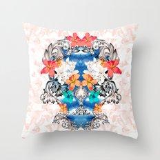 Hawaiian Skull Throw Pillow