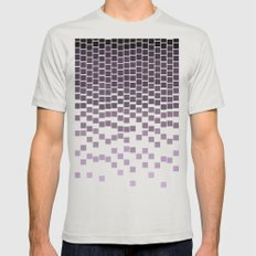 Pixel Rain Mens Fitted Tee Silver SMALL