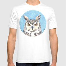 great horned owl Mens Fitted Tee White SMALL