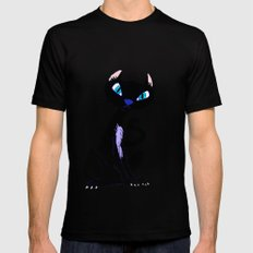 Parisian Cat at Night  Mens Fitted Tee Black SMALL