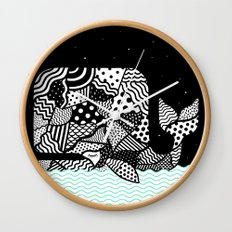 Patchwork Whale Wall Clock