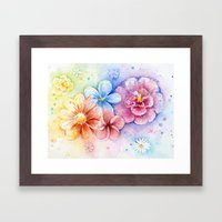 Flowers Watercolor Floral Colorful Painting Framed Art Print