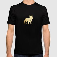 French Bulldog Gold Mens Fitted Tee Black SMALL