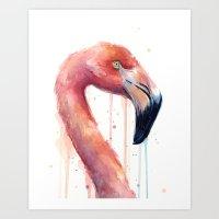Watercolor Pink Flamingo Illustration   Facing Right Art Print