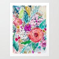 High By The Beach Floral Art Print