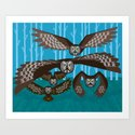Five Owls In Flight Art Print
