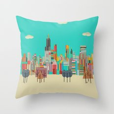 Chicago City (summer Day… Throw Pillow