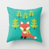 Forest Fox Throw Pillow