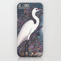 iPhone & iPod Case featuring Egret in the Moonlight by Lorri Leigh Art