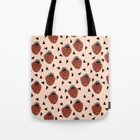Yummy Strawberries by Andrea Lauren Tote Bag