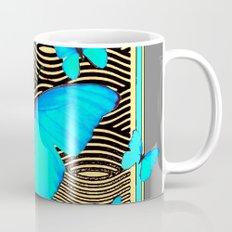 Blue Butterflies On black-yellow Grey Patterns Mug