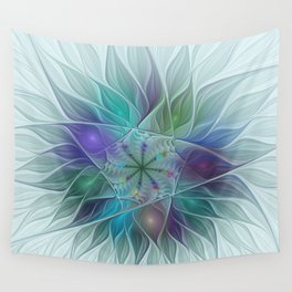 Wall Tapestry - Colorful Fantasy Flower Fractal Art Abstract - gabiw Art