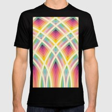 Retro Circles Mens Fitted Tee Black SMALL