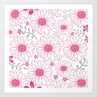 Cerise And Gray Floral P… Art Print